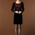 Temperament Dresses Winter Women Sparkly Leopard Print Plus Size Diamond - Red