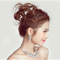 2 pcs Crystal Alloy Butterfly Bride U-shaped Hairpins Women Wedding Hair Clip - Sliver