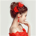 2pcs Pearl Beaded Lace Butterfly Bride Hair Barrettes Clip Women Wedding Accessories - Red