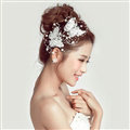 2pcs Pearl Beaded Lace Butterfly Bride Hair Barrettes Clip Women Wedding Accessories - White