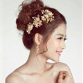 3pcs Pearl Beaded Leaves Flower Bride Hair Barrettes Clip Women Wedding Accessories - Gold