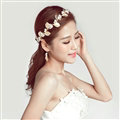 Alloy Leaf Pearls Flower Bridal Headbands Earrings Women Princess Style Jewelry Sets - Gold