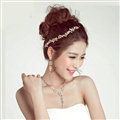 Alloy Leaf Rhinestone Pendant Bridal Headbands Earrings Women Princess Style Jewelry Sets - Gold
