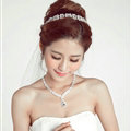 Alloy Rhinestone Bride Jewelry Sets Necklace Earrings Women Dinner Accessories - White