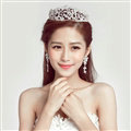 Alloy Rhinestone Flower Bridal Jewelry Tiaras Earring Women Wedding Sets 2pcs - White