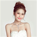 Alloy Rhinestone Flower Bride Jewelry Sets Necklace Earrings Women Wedding Accessories - Silver