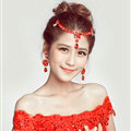 Alloy Rhinestone Flower Frontlet Pendant Headbands Earrings Bohemia Bridal Jewelry Sets - Red