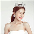 Alloy Rhinestone Hills Bridal Jewelry Tiaras Earring Women Wedding Sets 2pcs - White