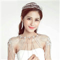 Alloy Rhinestone Hollow Leaves Bridal Jewelry Tiaras Earring Beauty Pageant Sets 2pcs - White