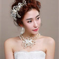 Beads Flower Pearl Crystals Bridal Tiaras Necklace Earring Queen Wedding Jewelry Sets 3pcs - White