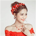 Beads Rhinestone Flower Pearl Bridal Hairbands Necklace Earring Women Weeding Jewelry Sets - Red