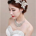 Bowknot Pearl Crystals Bridal Tiaras Necklace Earring Queen Wedding Jewelry Sets 3pcs - White
