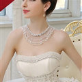 Calssic Pearls Crystals Beads Bridal Necklace Wedding Tassel Rhinestone Shoulder Chain Accessories