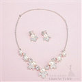 Calssic Rhinestone Pearls Bridal Jewelry Tiaras Necklace Earring Women Wedding Sets 3pcs - White