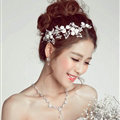 Crystal Beaded Flower Alloy Soft Chain Bridal Headbands Hair Accessories - White