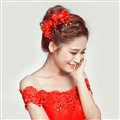 Crystal Beaded Lace Flower Bride Headbands Women Wedding Hair Accessories - Red