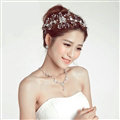 Crystal Beads Alloy Flower Soft Chain Bride Headbands Women Wedding Hair Accessories - Silver