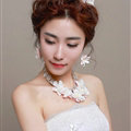 Crystals Beads Yarn Flower Bridal Tiaras Necklace Earring Women Wedding Jewelry Sets 3pcs - Pink