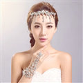 Elegant Alloy Rhinestone Bohemia Bridal Frontlet Pendant Headbands Hair Accessories - White
