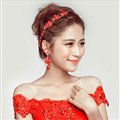 Elegant Alloy Rhinestone Flower Bridal Jewelry Headbands Earrings Women Weeding Sets - Red
