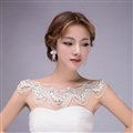 Elegant Lace Flower Rhinestone Bridal Necklace Wedding Ornate Tassel Shoulder Chain Accessories
