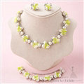 Elegant Rhinestone Pearls Flower Bridal Jewelry Necklace Earring Bracelet Women Wedding Sets 3pcs - Green