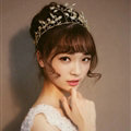 European style Bride Crown Crystal Alloy Flower Branch Hairbands Wedding Accessories - Gold