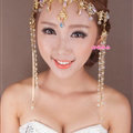 Exaggerated Rhinestone Tassel Bohemia Bridal Frontlet Stage Headband Hair Accessories - Gold