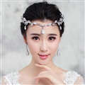 Fashion Alloy Rhinestone Bohemia Bridal Frontlet Pendant Headbands Hair Accessories - White