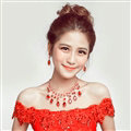 Fashion Alloy Rhinestone Pendant Bridal Necklace Earrings Women Wedding Jewelry Sets - Red