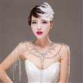 Fashion Rhinestone Bridal Shoulder Necklace Wedding Stage Bold Tassel Shoulder Chain Accessories
