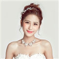 Fashion Rhinestone Pearl Flower Bridal Necklace Earrings Women Wedding Jewelry Sets - Silver