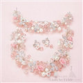 Flower Crystals Beads Pearls Soft Chain Bridal Jewelry Tiaras Necklace Earring Women Wedding Sets 3pcs - Pink