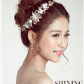 Gold Leaf Rhinestone Flower Bridal Headbands Earrings Women Princess Style Jewelry Sets - White