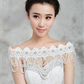 Gorgeous Lace Flower Pearls Crystal Beads Tassel Bridal Necklace Shoulder Chain Wedding Accessories