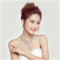 Gorgeous Rhinestone Hollow Flower Bridal Necklace Earrings Women Wedding Jewelry Sets - Silver