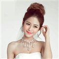 Gorgeous Rhinestone Tassel Flower Bridal Necklace Earrings Women Wedding Jewelry Sets - Silver
