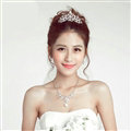 Hollow Flower Rhinestone Bridal Jewelry Tiaras Necklace Earring Women Pageant Sets 3pcs - White