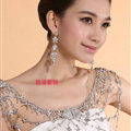 Hot sales Bridal Alloy Rhinestone Flower Shoulder Chain Unique Wedding Stage Jewelry - White