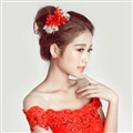 Lace Flower Bride Hair Barrettes Clip Women Headbands Wedding Accessories - Red