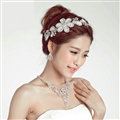 Luxury Alloy Rhinestone Lace Flower Bridal Headbands Necklace Earrings Women Wedding Jewelry Sets - Silver
