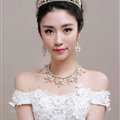 Luxury Pearl Crystals Bridal Tiaras Necklace Earring Queen Wedding Jewelry Sets 3pcs - Gold