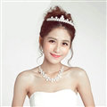 Luxury Pearls Flower Bridal Jewelry Tiaras Necklace Earring Women Pageant Sets 3pcs - White