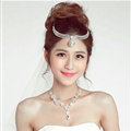 New Alloy Rhinestone Bohemia Bridal Frontlet Pendant Crown Headbands Hair Accessories - White