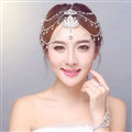 New Rhinestone Alloy Flower Tassel Beads Bohemia Bridal Frontlet Headbands Hair Accessories - White