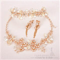Newest Crystals Beads Pearls Soft Chain Bridal Jewelry Tiaras Necklace Earring Women Wedding Sets 3pcs - Gold