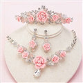 Newest Rhinestone Porcelain Flower Bridal Jewelry Tiaras Necklace Earring Women Wedding 3pcs Sets - Pink