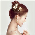Pearl Beaded Alloy Leaves Bride U-shaped Hairpins Women Wedding Hair Clip - Gold