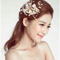 Pearl Beaded Lace Flower Bride Hair Barrettes Clip Women Headbands Wedding Accessories - Pink