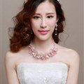 Pearl Crystals Beads Yarn Flower Bridal Tiaras Necklace Earring Women Wedding Jewelry Sets 3pcs - Pink